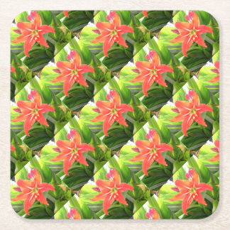 Orange Amaryllis Flower Blooms in Springtime Square Paper Coaster