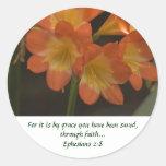 Orange Amaryllis Round Sticker
