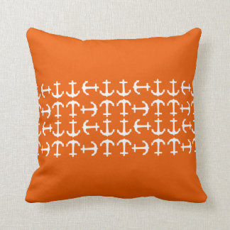 Orange Anchors Nautical Decorative Throw Pillow