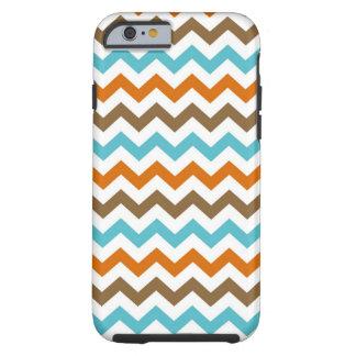 Orange and Aqua Chevrons Pattern Tough iPhone 6 Case