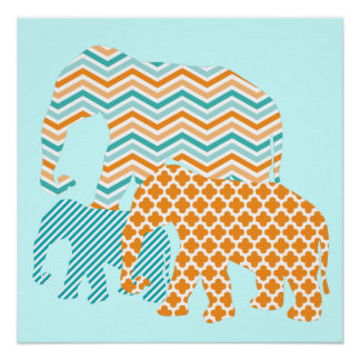 Orange and Aqua Elephants Poster