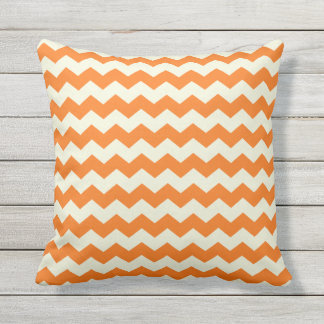 Orange and Beige Chevron Pattern Pillow