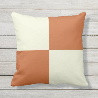 Orange and Beige Squares Pillow
