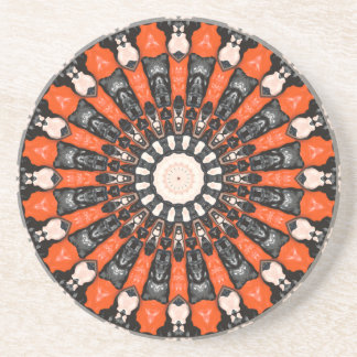 Orange And Black Abstract Coaster