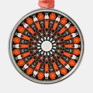 Orange And Black Abstract Metal Ornament