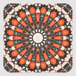 Orange And Black Abstract Square Sticker