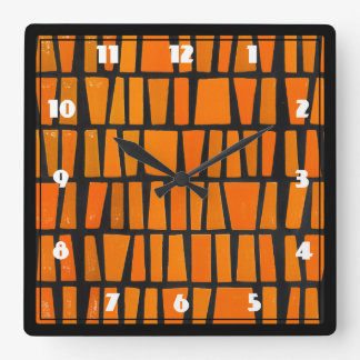 Orange and black african tribal pattern square wall clock