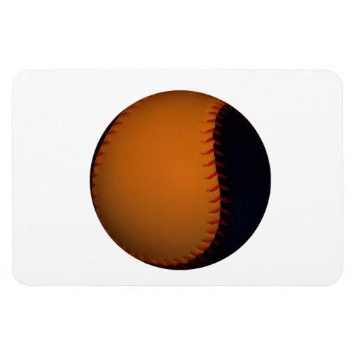 Orange and Black Baseball / Softball Rectangular Magnets