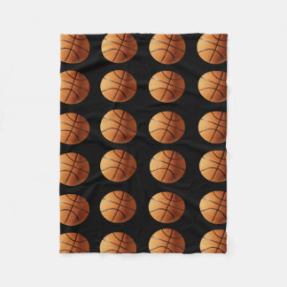 Orange And Black Basketballs Pattern, Fleece Blanket