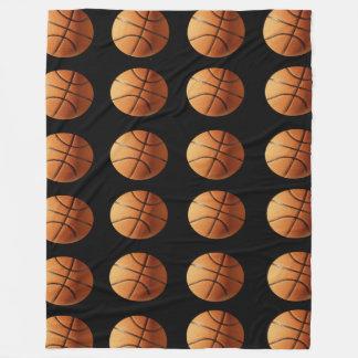Orange And Black Basketballs Pattern, Large Fleece Blanket