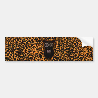 Orange and Black Bat and Leopard Spots Bumper Sticker