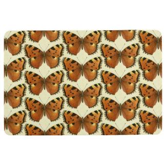 Orange and Black Butterflies Pattern Floor Mat