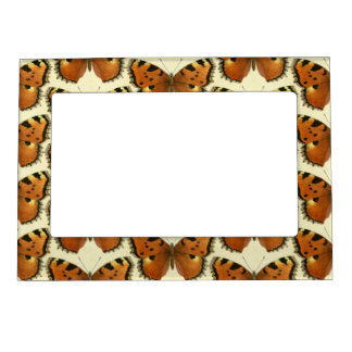 Orange and Black Butterflies Pattern Magnetic Picture Frame