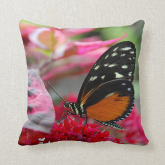 Orange and Black Butterfly on Flowers Photo Pillow