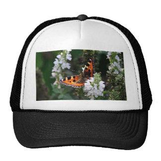 Orange and Black Butterfly on White Flowers Trucker Hat