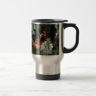 Orange and Black Butterfly on White Flowers Mug