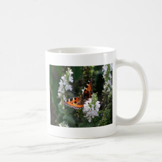 Orange and Black Butterfly on White Flowers Coffee Mug