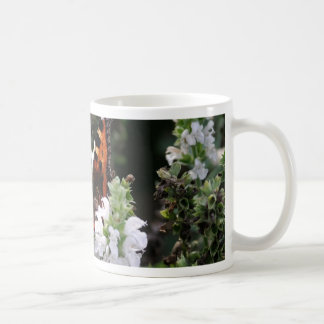 Orange and Black Butterfly on White Flowers Coffee Mugs