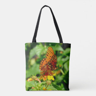Orange and Black Butterfly pink & yellow flowers Tote Bag