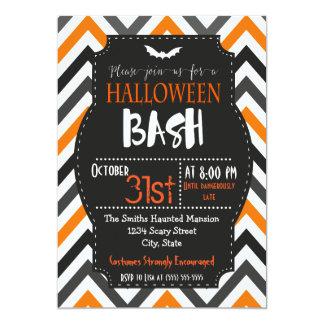 Orange and Black Chevron Halloween Invitation