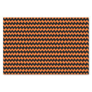 Orange and Black Chevron Stripes Tissue Paper