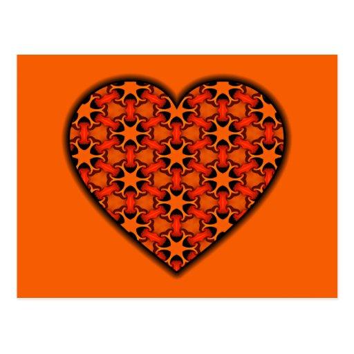Orange and Black Cosmic Burst Heart Postcard