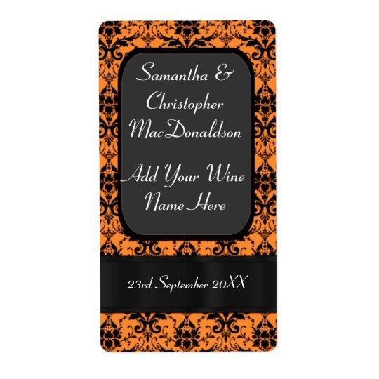 Orange and black damask wedding wine bottle