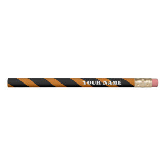 Orange and Black Diagonal Stripes Add Your Name Pencil