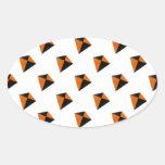 Orange and Black Diamond Kites Oval Stickers