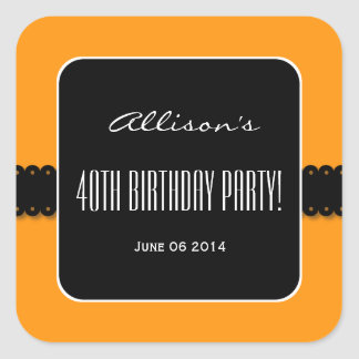 Orange and Black Elegant 40th Birthday Party V03 Square Sticker