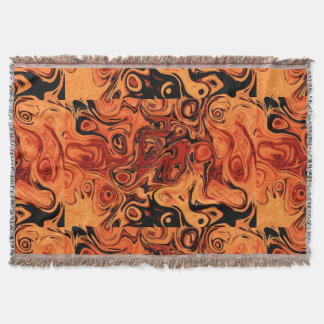 Orange and Black Fire Stone Throw Blanket