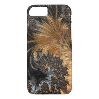 Orange and Black Fractal, Abstract, Feather iPhone 8/7 Case
