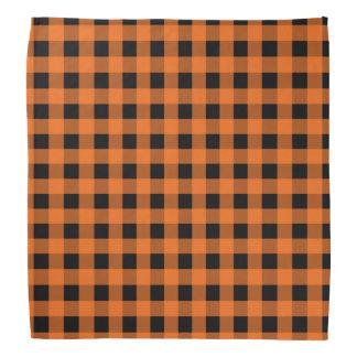 Orange and Black Gingham Bandana