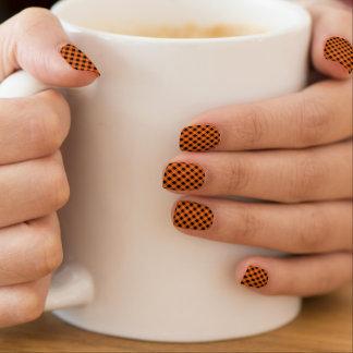 Orange and Black Gingham Pattern | Halloween Minx Nail Art