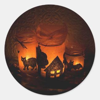 Orange and black Halloween jars with cat Round Sticker
