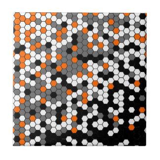Orange and black honeycomb design ceramic tile