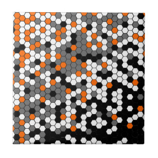 Orange and black honeycomb design small square tile
