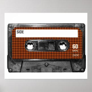 Orange and Black Houndstooth Cassette Poster
