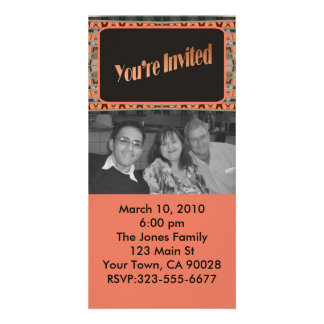 orange and black invitation personalized photo card
