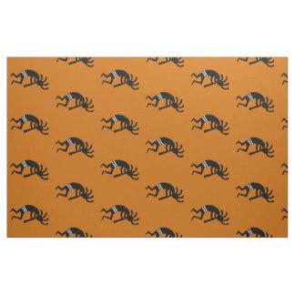 Orange And Black Kokopelli Pattern Southwest Fabric