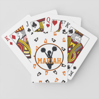 Orange and Black Megaphones Cheer Personalized Playing Cards