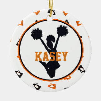 Orange and Black Megaphones Cheerleader Round Ceramic Decoration