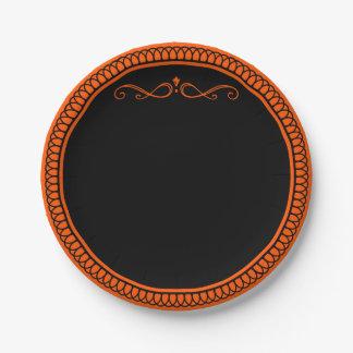 Orange and black paper plates