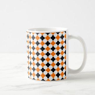 Orange and Black Quatrefoil Pattern Coffee Mug