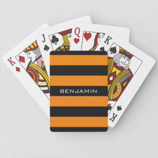 Orange and Black Rugby Stripes with Custom Name Playing Cards