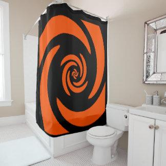 Orange and Black Spiral Design Shower Curtain