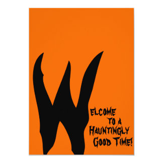 Orange and Black Spooky 13 Cm X 18 Cm Invitation Card