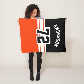 Orange and Black Sport Number Fleece Blanket