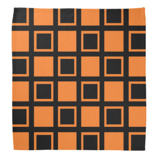 Orange and Black Squares Bandana