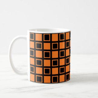 Orange and Black Squares Coffee Mug
